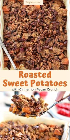 This cinnamon-infused sweet potato casserole recipe with a pecan-pie-inspired topping highlights all the wonderful flavors of the holiday season! Roasted Sweet Potatoes with Cinnamon Pecan Crunch will be the first thing to disappear from your Thanksgiving or Christmas dinner table! PRINTABLE RECIPE   HOW-TO VIDEO at TidyMom.net