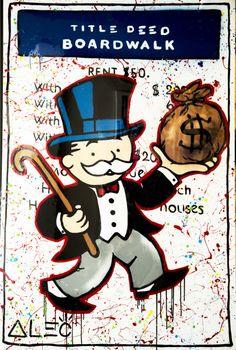 Always buy Boardwalk! Murals Street Art, Street Art Graffiti, Monopoly Man, Visual Development, Prints For Sale, Cover Art, New Art, Vector Art, Art Photography