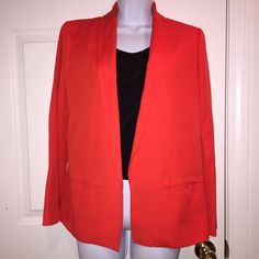 👠SALE👠MNG Red Blazer Size medium but can probably fit a small also just might be a little oversized. Color is more like a red orange than plain red. Love this jacket but the sleeves were just a bit long for me. Excellent condition! MNG Jackets & Coats Blazers