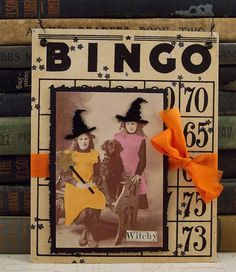 Items similar to Two Witches and a Black Dog Halloween Wall Hanging - Altered Vintage Bingo Card - Mixed Media Collage Art - Halloween Decor - Witch Collage on Etsy Halloween Prints, Halloween Items, Dog Halloween, Halloween Projects, Holidays Halloween, Halloween Decorations, Paper Collage Art, Collage Art Mixed Media, Halloween Bingo Cards