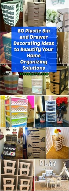 60 Plastic Bin and Drawer Decorating Ideas to Beautify Your Home Organizing Solutions - DIY & Crafts Paint Plastic Drawers, Painting Plastic Bins, Plastic Drawer Makeover, Plastic Drawer Organizer, Diy Drawers, Decorating Plastic Drawers, Paint On Plastic, Storage Bins, Diy Storage