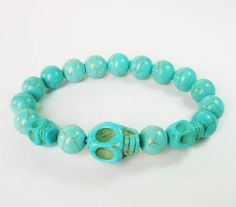 7.5inch Cool Turquoise Baby Blue Skulls Round Baby Blue Beads Stretchy Bracelet ZZ234 by AnneJewelryAcc, $3.68