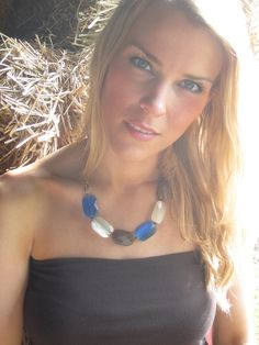 Stone Statement Necklace in Blue, White, & Brown.