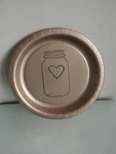 Burlap Mason Jar Heart Wedding Paper Plates by CharlestonCharms & paper plates - cheap chic and cute! | reception | Pinterest | Paper ...