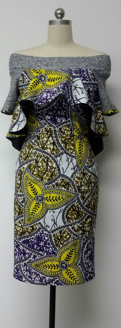 Fitted Knee Length Dress with Hi-Lo Cape. Knit Off-Shoulder Neckline. Sleeves. Lined. African Print. Handmade. Available in other Fabrics.