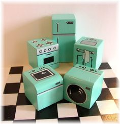 Miniature Appliance Set - A4Table-  Glendale, AZ Set up a mini kitchen with this set of vintage blue appliances – this package includes: Refrigerator, Stove, Sink, Washer, Dryer and Checkered Floor (7″X7″).  Scale is 1:24.   These painted wooden shapes that would be suitable for little ones to have fun with!