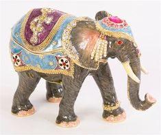 Elephant Katmandu jeweled trinket box