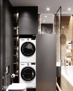 bathroom laundry BLUET on Behance Modern Laundry Rooms, Laundry Room Design, Modern Bathroom Design, Bathroom Interior Design, Interior Modern, Bad Styling, Shower Cubicles, Small Bathroom, Budget Bathroom