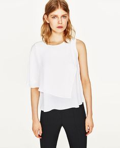 Image 2 of TOP WITH ASYMMETRIC SLEEVES from Zara