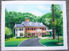 Custom hand painted original watercolor house,Villa,villadom,Building,Landscape portrait.  Also,you can Custom original watercolor portrait,hand