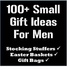 Over 100 cheap, small gift ideas for men. This list is awesome! #mangifts  hat, clearance bin movie, legos, card game, tie, chapstick, sexy underwear for you, hot cider packet, mini hot sauce, fun USB (batman, etc.), car/tools/work out/sports accessories, fat pencils for tool bench, themed cookbook (BBQ?), video games, target t-shirt
