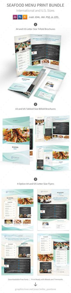 Seafood Restaurant Menu Print Bundle 2 - Food Menus Print Templates Download here : https://graphicriver.net/item/seafood-restaurant-menu-print-bundle-2/18900169?s_rank=126&ref=Al-fatih
