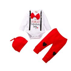 Onefa Infant Baby Outfit Letter Print Jumpsuit Romper+Christmas Tree Print Pants+Hat