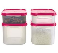 Tupperware | Modular Mates® Mini Rectangulars  29.00 - a 42.00 value!  Includes two 31/2-cup/825 mL Mini Rectangular 1s and two 8-cup/1.9 L Mini Rectangular 2s. For streamlined storage, fit two Minis on top of a Rectangular Modular Mates® Container.  • Available in Black, Passion or Pink Punch. • Dishwasher safe.