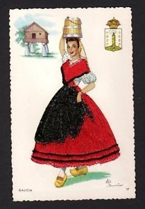 embroidered postcards antique elsi gumier   Embroidered-Postcard-signed-Elsi-Gumier-Galicia-woman-in-red-dress ...