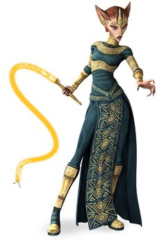 Queen Miraj Scintel - Queen of Zygerria, member of the Separatist Council. She captured Anakin, Obi-Wan, and Ahsoka and attempted to auction them off as slaves; however, they were rescued by clone troopers, and she was Force-choked to death by Count Dooku for her failure.