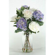Hydrangeas and Peonies in Glass Vase