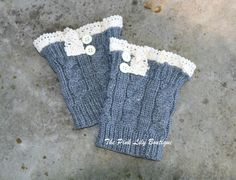 The Pink Lily Boutique - Grey Lace Button Boot Cuff, $16.00 (http://thepinklilyboutique.com/grey-lace-button-boot-cuff/)