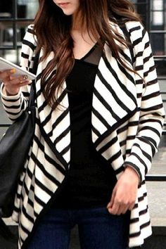 Chic Turn-Down Neck Long Sleeve Striped Cardigan For Women