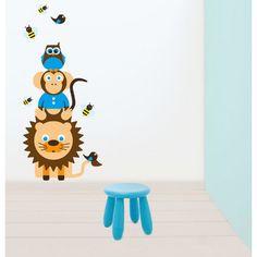 Muursticker dierenstapel blauw