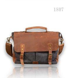 NEW MEN'S Vintage Canvas Genuine Leather Satchel Shoulder BAG Messenger UK | eBay