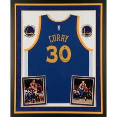 30221671dcd4 Autographed Golden State Warriors Stephen Curry Fanatics Authentic Deluxe  Framed Blue Swingman Jersey with NBA Rec
