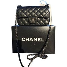 Pre-owned Chanel Classic Mini Caviar Rectangular Black Ruthenium 2016... ($3,950) ❤ liked on Polyvore featuring bags, handbags, shoulder bags, none, mini shoulder bag, black cross body purse, mini cross body purse, mini purse and mini crossbody