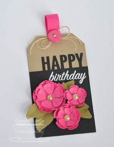 Accent It - Celebrate Die-namics; Traditional Tags STAX Die-namics - Joanne Basile by wanda Tarjetas Diy, Birthday Tags, Happy Birthday, Celebrate Good Times, Handmade Gift Tags, Paper Tags, Copics, Christmas Tag, Card Tags