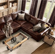 RH's Lancaster Leather Customizable Sectional:Exceptionally luxurious at nearly four feet deep, Lancaster features ultra-comfortable cushions and is available in rich, premium leathers. All sectional components are also available individually, allowing you to customize the configuration of your choice.