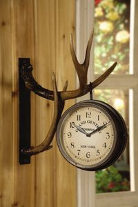"""Double-Sided (2 Faces) Metal Clock Hangs on Resin Wall-Mounted Antlers 16"""" High  #Wall Clocks,#Interior Decor"""