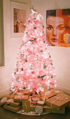 Lit Up Pink Christmas Tree