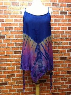 ***CHARITY*** Tie Die Multi Coloured Strappy Layered Long Top - 90's Hippy Booho