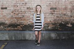 kid fashion, stripe dress, little edge threads, h&m kids, gap kids, tween fashion, fall fashion, ootd inspo, chambray tee, scout fashion, phoenix street photography, stylish kids
