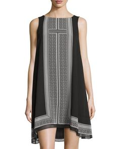 Printed+Trapeze+Dress,+Black/Off+White+Tile+by+Max+Studio+at+Neiman+Marcus+Last+Call.