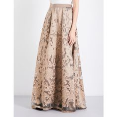 Alberta Ferretti Box-pleated fil coupé maxi skirt ($1,480) ❤ liked on Polyvore featuring skirts, high waisted skirt, a line skirt, long a line skirt, maxi skirts and high-waist skirt