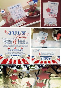 Fourth of July Wedding Invitations and RSVP Cards-set of 10.  via Etsy.  red white and blue inspiration