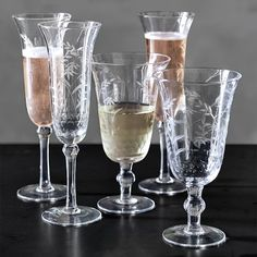 Harvest Etched Champagne Flutes, Set of 4 #williamssonoma; Get ready for the New Year