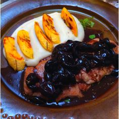 Pork Steak with Jabuticaba sauce, Inhame cream and Banana da Terra