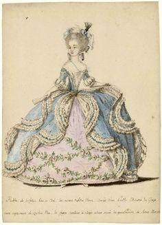 Court Dress Marie Antoinette     Gouache on paper 1785      Collection Musée des Arts Décoratifs