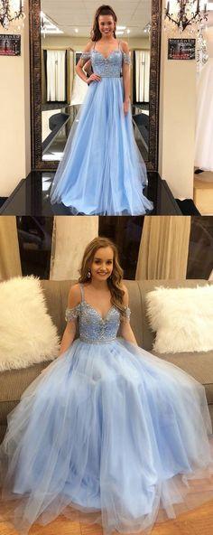 Blue Prom Dresses, Long Prom Dresses, A-line Prom Dresses V-neck, 2018 Prom Dresses Chiffon, Modest Prom Dresses For Teens Sequins #promdresses #dressesforteens