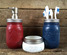 Red White & Blue Mason Jar Soap Dispenser Bathroom by MasonMeSmile, $40.00