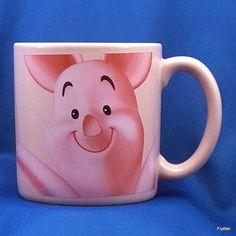 Disney Store Piglet Large Coffee Tea Mug Cup Pink Double Sided 20 Oz #DisneyStore