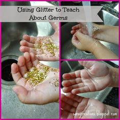 Teaching about germs by using glitter, soap and water. Includes a freebie!