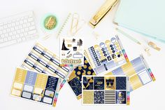 Too Glam to give a Damn Planner Stickers | Glam Planner Stickers | Blue Glam Stickers | EC VERTICAL by TheCleverDesign on Etsy