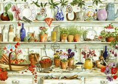 Painting of Potting Shed flowers art country painting prim illustration shed gardening potting