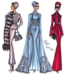 "haydenwilliamsillustrations: ""Sheikha Mozah by Hayden Williams "" Fabulous illustration of Sheikha Mozah by Hayden Williams"