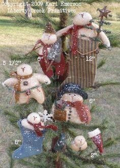Set of 6 Liberty Creek Primitives Snowman Christmas Ornie Epatterns