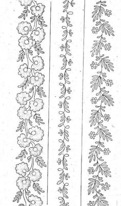 Hand Embroidery Patterns Flowers, Border Embroidery Designs, Embroidery Motifs, Machine Embroidery Designs, Embroidery Fashion, Beaded Embroidery, Doodle, Inspiration, Free Motion Quilting