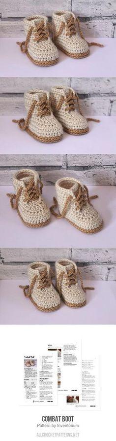 Combat Boot crochet pattern by Inventorium - Crochet Baby Boots, Crochet For Boys, Crochet Slippers, Crochet Clothes, Knit Crochet, Crochet Hats, Baby Knitting Patterns, Crochet Patterns, Crochet Headband Pattern