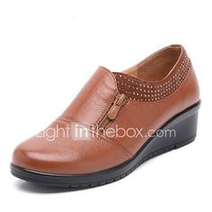 Mujer Zapatos Cuero Primavera verano Confort Zapatillas de Atletismo Tacón Cuña Negro / Amarillo / Rojo mPHI0